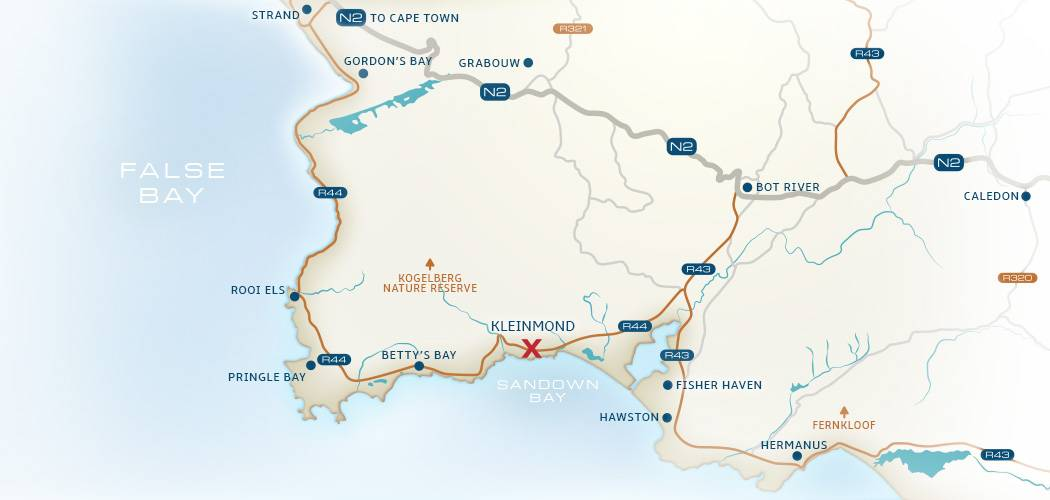 Map of roads leading from Cape Town, Caledon and the Garden Route to Die Rotse Host House and Self-catering in Kleinmond
